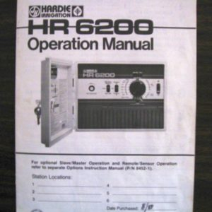 Hardie HR6200 Operation Manual